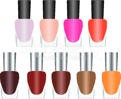 Bottles of nail polish in various bright colors