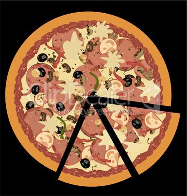 Realistic illustration pizza on black background