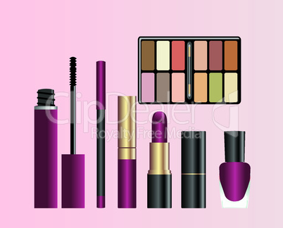 Collection of female accessories of beauty