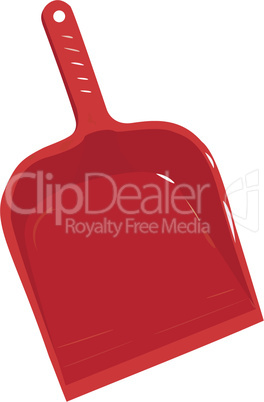 Red plastic scoop for dust