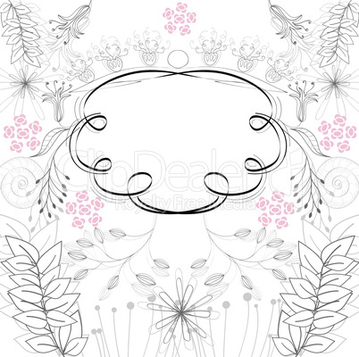 Stylish frame with floral ornament