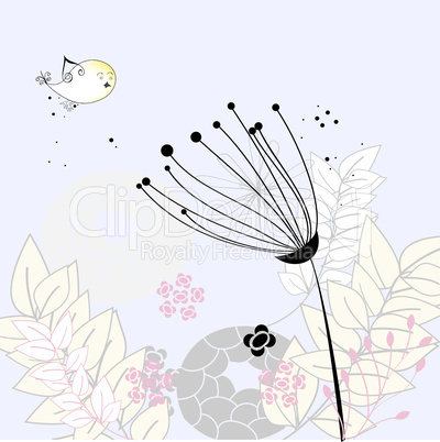 Floral background with flower and bird