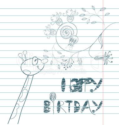 Inscription happy birthday with giraffe