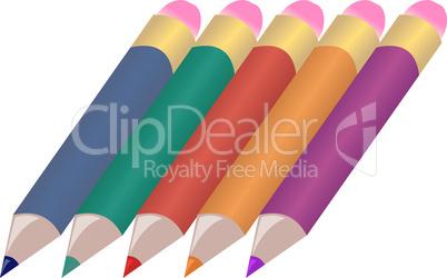 Illustration set colors pencils