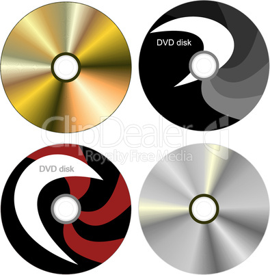 Realistic illustration set DVD disk with both sides