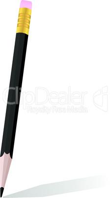 Realistic illustration of single black pencil