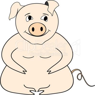Cartoon illustration big pig - vector
