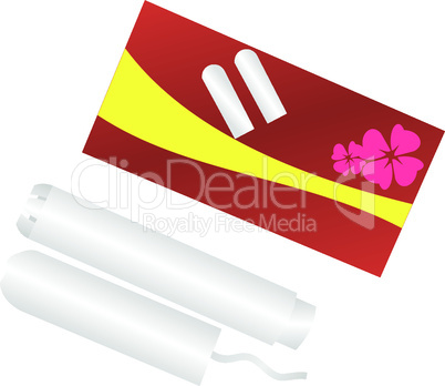 Realistic illustration packing of tampons is isolated on white background