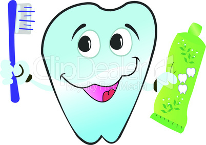 Vector illustration of happy smiling tooth is isolated on white background