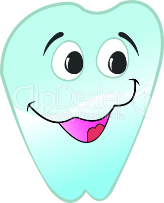 Illustration of happy smiling tooth is isolated on white background