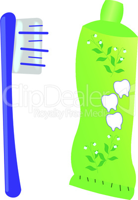 Illustration of a toothbrush with toothpaste and tube