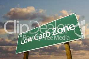 Low Carb Zone Green Road Sign and Clouds