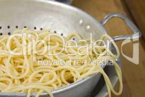 Spaghetti und Sieb