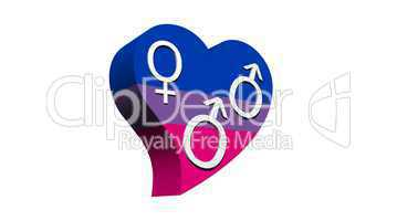Bisexual man in flag color heart