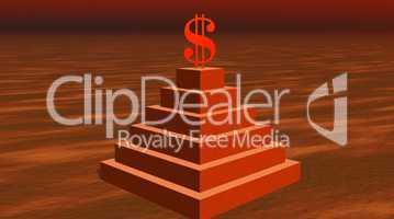 Red dollar on a pyramid in desert