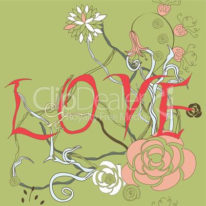 Inscription LOVE with floral element