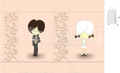 Template for decorative bag with girl and boy