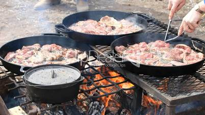 Mutton steaks cut in deep fry