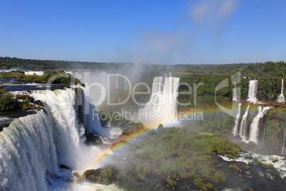 Iguazu waterfalls with rainbow