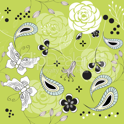 seamless pattern with rose and butterfly