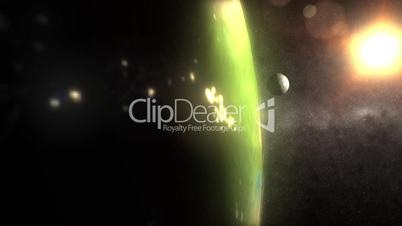(1160) Spinning Earth Low Orbit Sun Space Moon Night City Lights LOOP