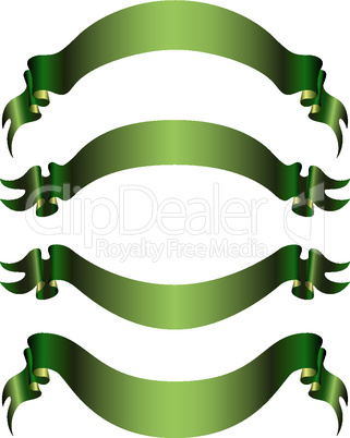 set of 4 green banners