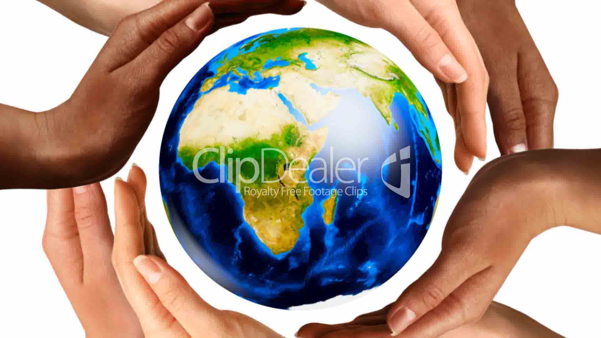 Multiracial Hands Surrounding The Earth Globe Royalty Free Video