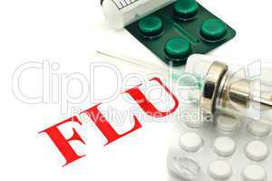 H1N1 warning - pills and syringe