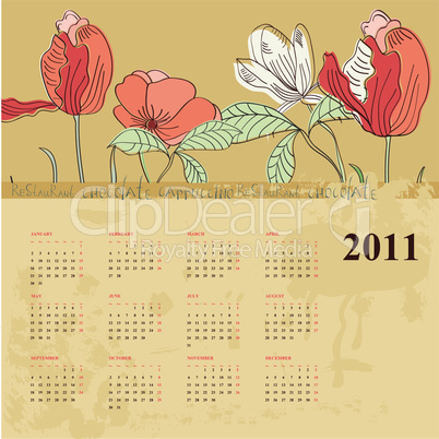 Decorative calendar for 2011 with flowers