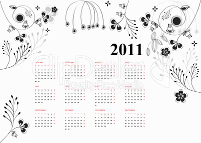 calendar for 2011 with stylized flowers