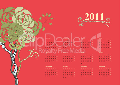 Colorful calendar for 2011 with tree
