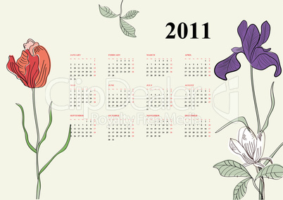 Template for decorative calendar for 2011