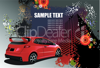 Grunge abstract hi-tech background with red car image. Vector illustration