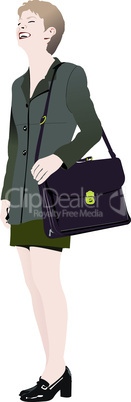 Cute business lady. Vector colored illustration