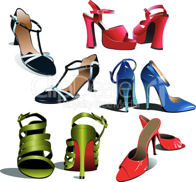 Five pairs of Fashion woman shoes