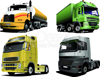 Four Vector illustration of trucks