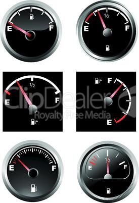Set of six car dash boards petrol meter, fuel gauge
