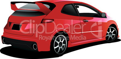 Red car hatchback on the road. Vector illustration