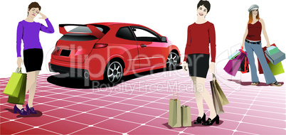 Three shopping women with red car