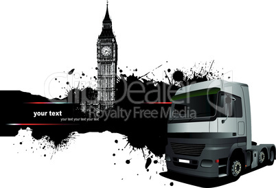 Grunge blot banner with town and truck images. Vector illustration