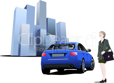 Business woman and car on city background. Vector illustration
