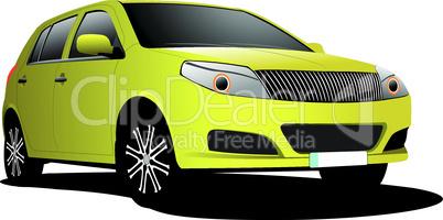 Yellow car sedan on the road. Vector illustration
