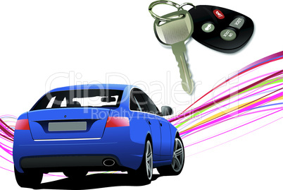 Car sedan on the road and key ignition