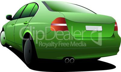 Car sedan on the road. Vector illustration