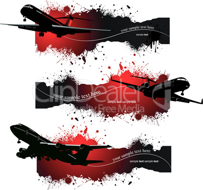 Three grunge Banners with Airplane flight. Vector illustration