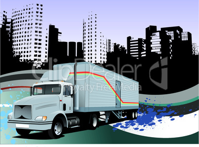 Abstract hi-tech background with truck image. Vector