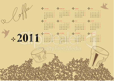 Calendar for 2011 with coffee