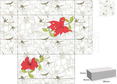 Template for box with summer flowers