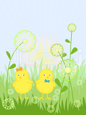 easter card with a chicks, vector illustration