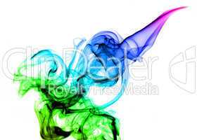 Beautiful colored Abstract smoke over white